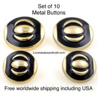 Black enamel buttons , Black and gold  buttons. Free worldwide shipping (2) (3) (4) (5) (7) (8)